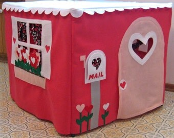 Card Table Playhouse Happy Heart House, Play Tent, Kids Playhouse, Toddler Playhouse, Teepee, Fabric Playhouse, Kids Tent Custom Order
