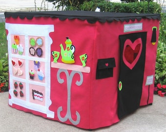 Card Table Playhouse, Cupcakery with curtains, Black Scalloped Roof, 40 Interactive Play Pieces, Custom Order