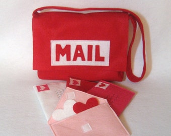 Red Mail Bag with Working Envelopes for Pretend Play, Custom Order