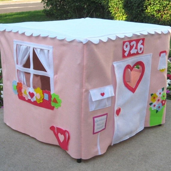 Pink Tablecloth Playhouse, Card Table Playhouse, Custom Order, Personalized