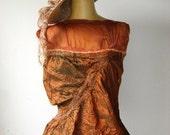 Nuno Felted Pure Silk  Top - Bronze