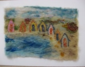 Felted Picture -  Beach Huts