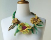 Felted  Statement Necklace Faerie Flower