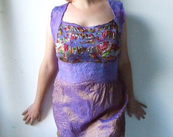 Nuno Felted Silk Dress or Top  with Back Lines - The Gardener ( M or L size)