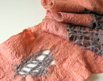 Felted Salmon Scarf   (mixed merino wool and mulberry silk)