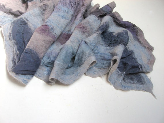 Nuno Felted Silk Scarf - Summer Storm Cloud