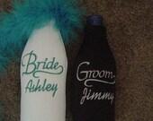 Bride and Groom Weddding Honeymoon embroidered Long Neck Bottle Holder Koozies Set of 2 Personalized