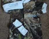 Mossy Oak Camo Camouflage 3PC Baby Infant Newborn Hunting Set Personalized Boy Blue trim Coming home outfit