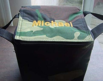 Personalized Camo Camouflage Preschool Daycare Kindergarten School Small Lunch Box Snack Bag Personalized Embroidered Boys Toddler