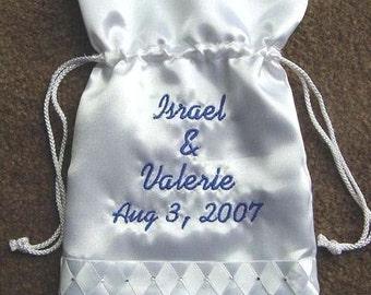 Personalized 10 inch  Wedding Bridal Money Card Drawstring Bag Purse Rhinestones or Pearls accent