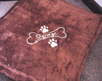 Personalized Dog Puppy  with paw prints Blanket Super Soft Tahoe Microfleece Pet Fleece  Blanket Cuddle - 30 x 40