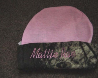 Personalized Camouflage Camo trim Pink Hat Girl  Newborn Baby Beanie Hat Cap Embroidered