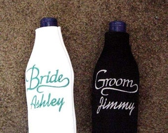 Bride and Groom Embroidered Personalized Long Neck Bottle Coozies Set