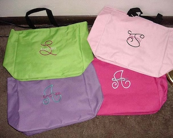 2 Tote Bags Personalized Embroidered Bride Bridesmaid Mother of the Bride Bridal Party Shower Gift