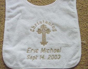 Personalized Baptism Christening Orthadox God bless Bib Keepsake  Baby Infant Newborn