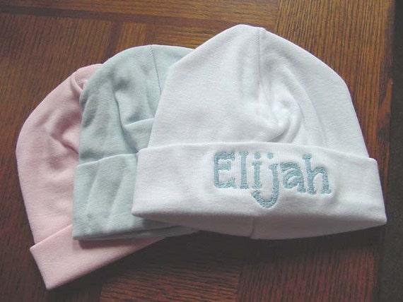Personalized Baby Boy Girl Infant Newborn Hospital Cap Beanie Hat White Pink Blue Black Brown