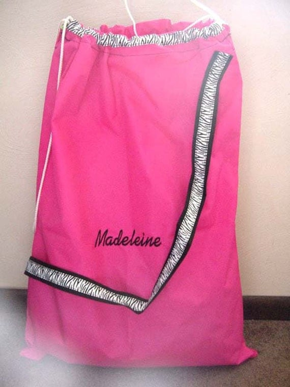Laundry Bag Dorm College Graduation Camping Large 22.5 x 30 Personalized Girls Hot Pink and Black trim