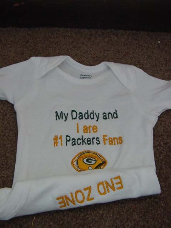 Green Bay Packers Football Baby Infant Newborn Onesie creeper Short or long Sleeves Daddy Mommy Uncle Aunt Embroidered