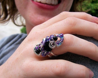 "Argentium Sterling Silver Sculpture Ring/ SAMPLE PHOTO/ ""Purple Intoxication""/  OOAK"