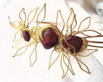 "Brass Sculptural Headband SAMPLE of a style/ Made to order/  ""Lauel and Cranberry Crown""/ OOAK"