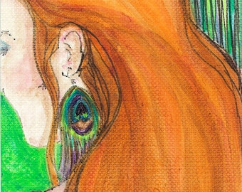 """Fine Art Original Painting/ Ready to Ship / Free Shipping / ACEO/ ATC / """"Quiet Confidence"""""""