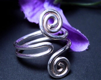 """Folded Spiral Ring in Argentium Sterling Silver  """"Swept Away"""" Made to Order"""