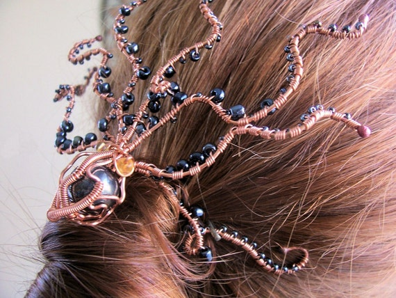 "Copper Hair Piece  ""Crazy Octopus, Squid""  SAMPLE PHOTO,  Made to Order"