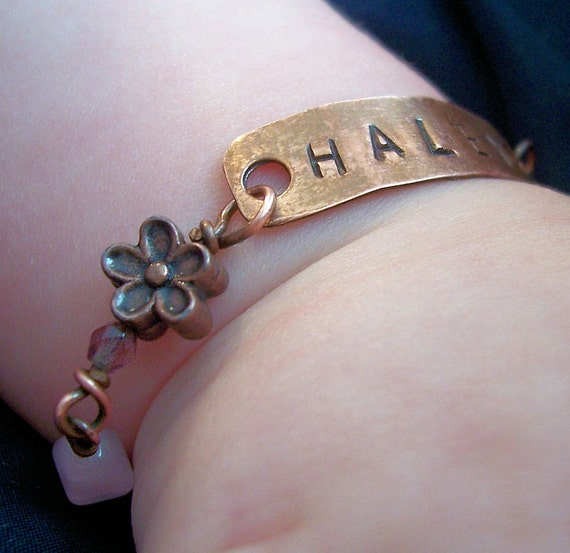 """Girls Copper Personalized Custom ID Bracelet , shower gift,   """"Haley"""",  Made to Order"""