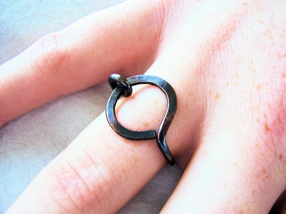 Oxidized  Atiqued Copper Ring, Simple Loop, Made to Order