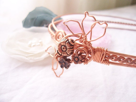 Copper  Headband / Wirework/  SAMPLE PHOTO/ Made to Order/ 100% Handforged