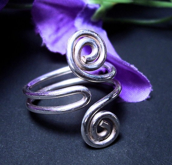 "Ready to Ship Sterling Ring / Argentium / folded spiral/ ""Swept Away"""
