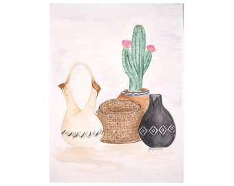 Original Watercolor Painting, Watercolor Painting of Southwest Pots, Watercolor Southwest Painting, Original Waterclor Still life Painting