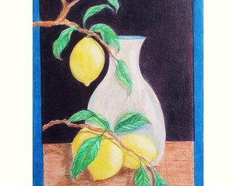 Original Pencil Drawing, Pencil Art Lemon Drop, Pencil Art Lemons and Vase
