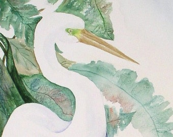 Original Watercolor Painting, Watercolor Painting Wading, Original Watercolor Bird Painting. Watercolor Painting of Egret