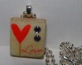 Altered Art Scrabble Tile Charm Pendant - LOVE