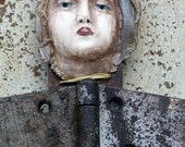 """Assemblage vintage found objects """"Guardian Angel"""" art Sculpture with clay, repurpose,reclaimed, recycled"""