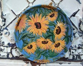 Original Painting Bouquet of sunflowers on a recycled tin tray, yellows,blue,& green