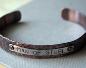 Personalized Superhero Mens Copper Cuff Bracelet Gift for a Man