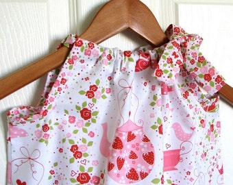 Girl Clothing - Pillowcase Dress - Girl Dress in Tea Party Flowers
