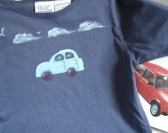 Childs Long Sleeved Tshirt, Size 5, Painted Car, Navy Blue, Childrens Clothing, by enfantjoli on etsy