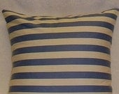 Pillow Cover/sham/cushion in blue and white stripes,  14x14 or 16x16, 18x18, envelope back.