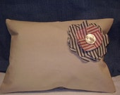NEW Canvas Pillow Cover, natural American grown, 16x12,  with Waverly flower trim and back.
