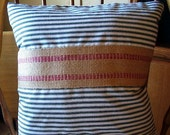 "SALE, French Ctry Waverly Ticking pillow cover Hunter Green stripes, 20x20"" with burlap trim."