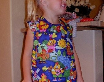 READY TO SHIP.  Jumper, dress, apron, Reversible, chicks design, size 3-4 Toddler, Ready to ship