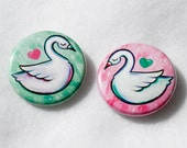 Swan Twins / Set of Two 1.25 Inch Pinback Buttons