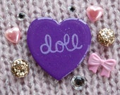 Doll / Hand Painted Wooden Purple Glitter Heart Pin