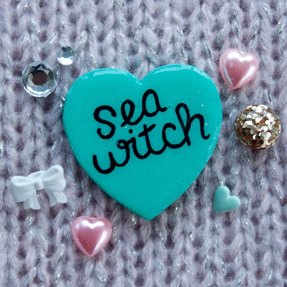 Sea Witch / Hand Painted Wooden Teal Glitter Heart Pin