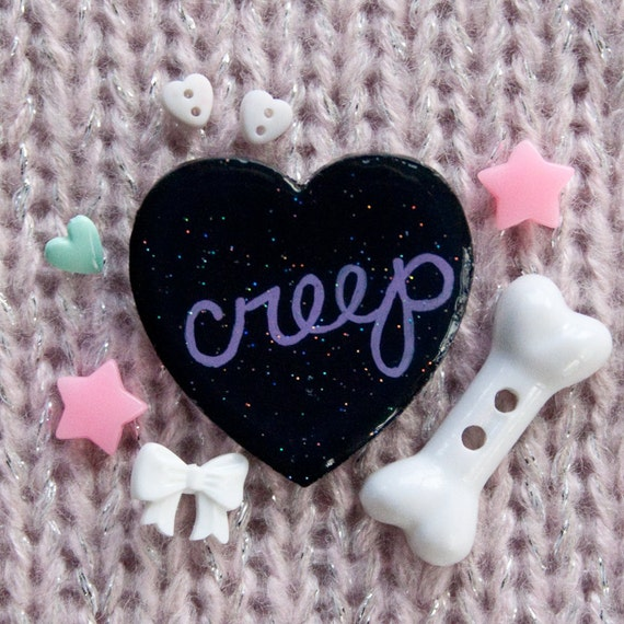 Creep / Hand Painted Wooden Black Glitter Heart Pin