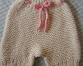 SALE! Wool Soaker- Shorties- Strawberry and Cream- Garter stitch cloth diaper cover- Size Medium
