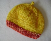 SALE! Mushroom Cap with Stem- Umbilical Hat- Black Cherry Sunshine Baby Hat- Size NEWBORN 0-3 month